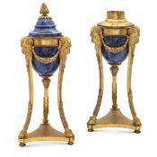 Pair of gilt bronze and lapis lazuli cassolettes France, 19th century h. 20 cm.