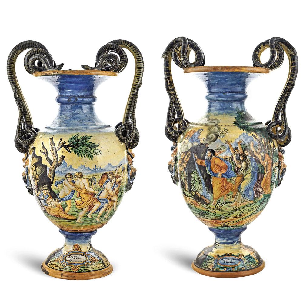 a pair of majolica vases Italy, 19th-20th century 69x40 cm.