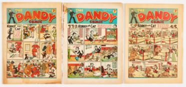 Dandy (1939) 80, 81, 91. No 80: Brittle page edges with back cover extensive tape repair and