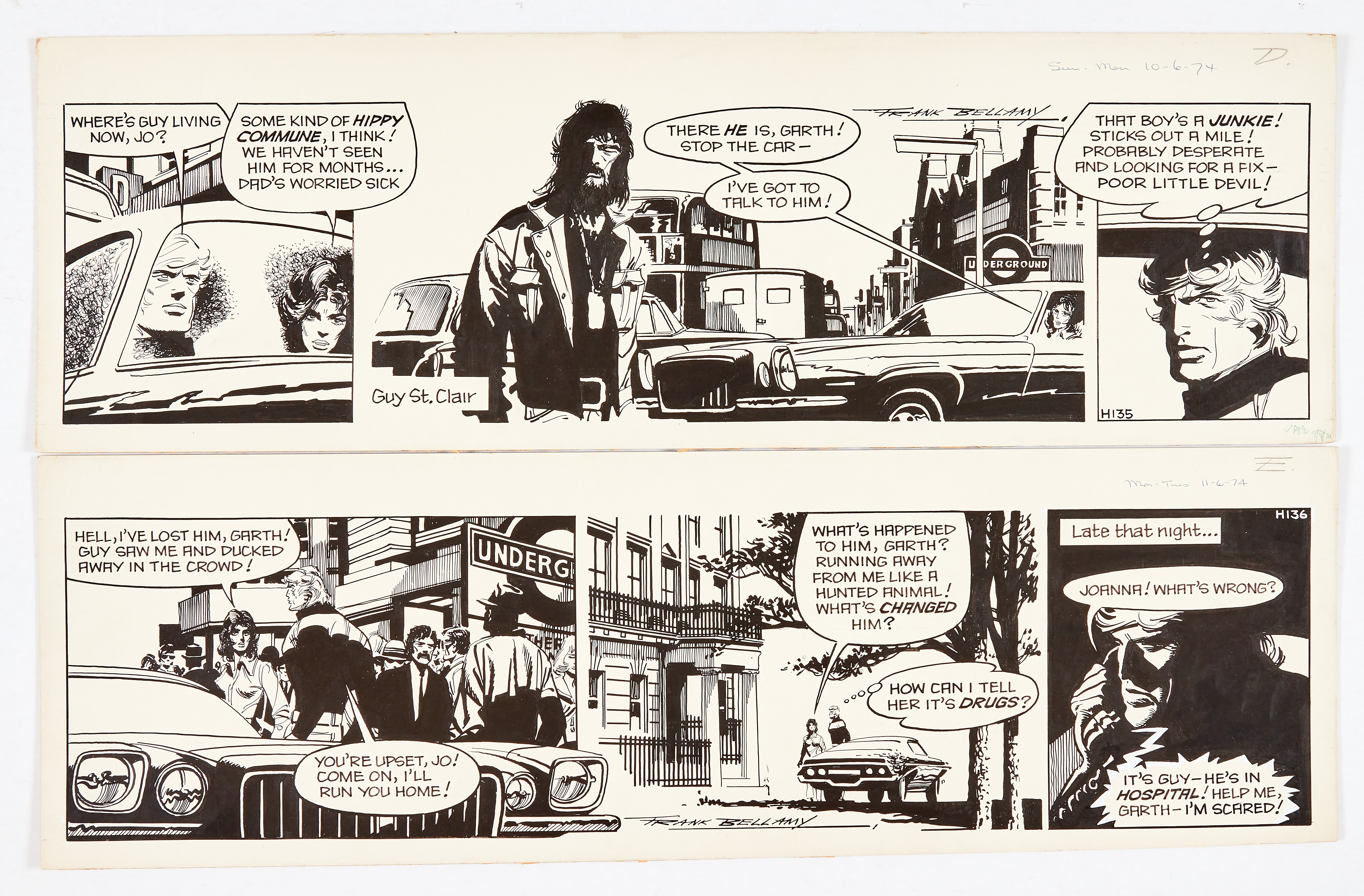 Garth: 'Freak Out to Fear', two original consecutive artworks (1974) both signed by Frank Bellamy