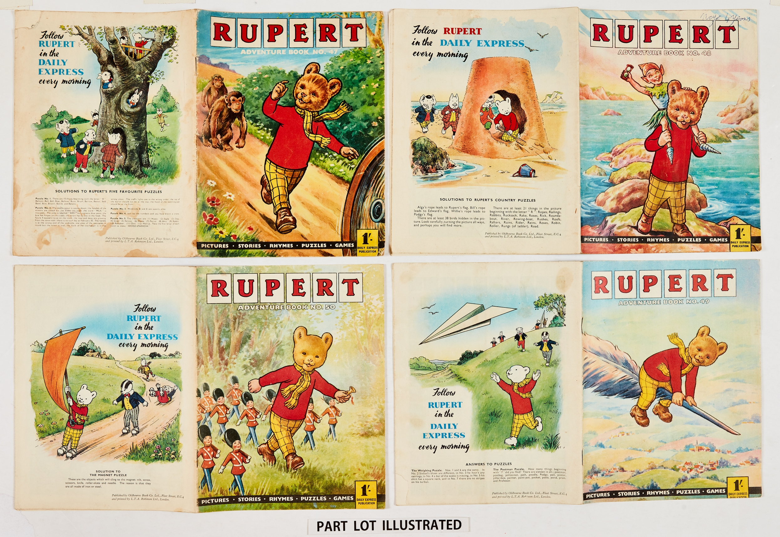 """Rupert Adventure Series (D. Express early 1960s) 47-50. Bright covers, white pages. No 47: 1 x ½"""""""