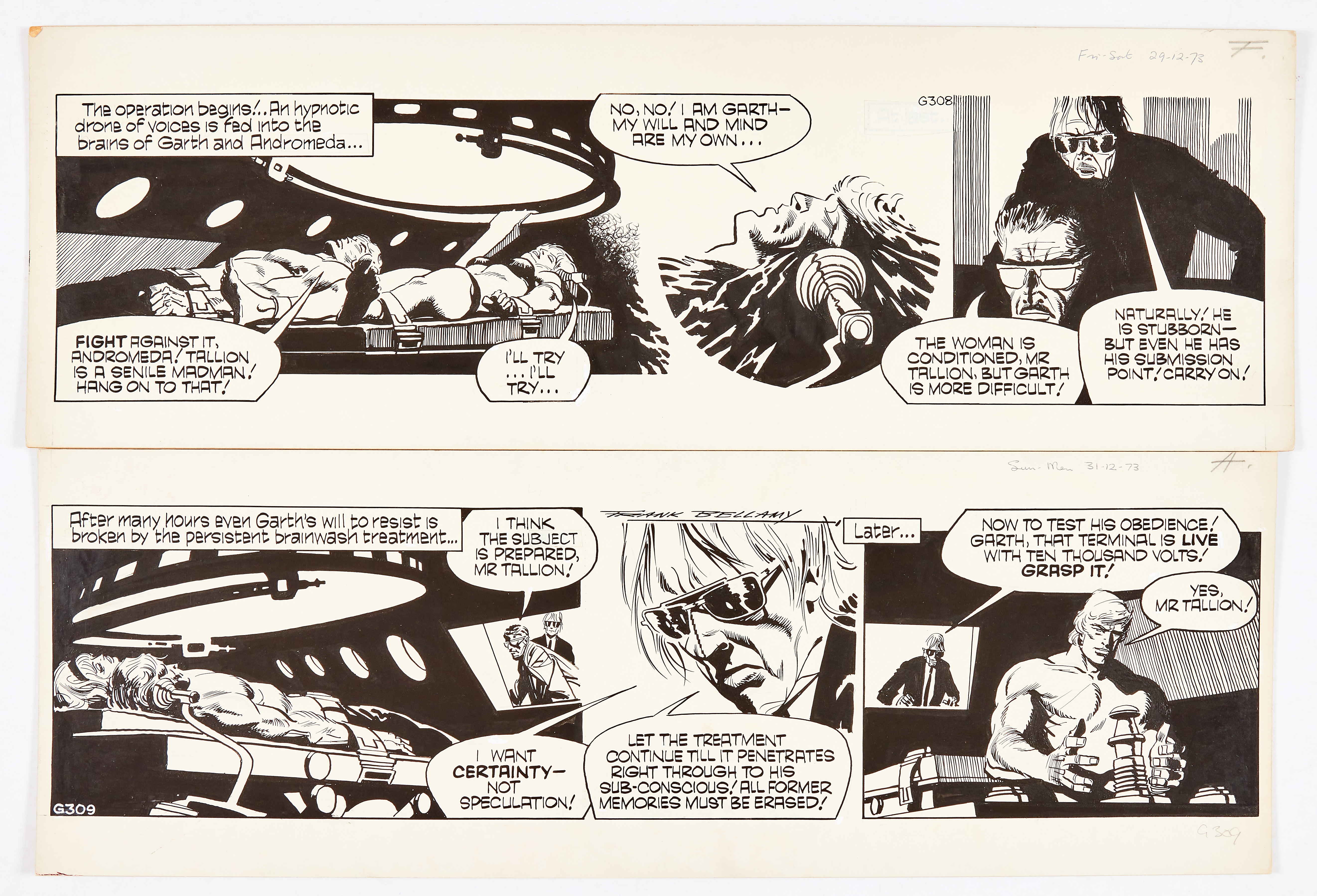 Garth: 'The Wreckers'. Two original consecutive artworks (1973) by Frank Bellamy (one signed) for