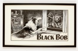Black Bob original artwork drawn by Jack Prout for The Dandy (early 1950s). Indian ink on card,