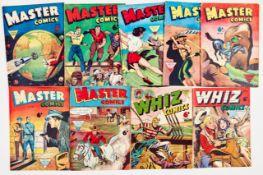 Master Comics + (L. Miller 1950s) 99, 102, 107, 109, 113, 138, 139, Whiz 106, 126 [vg/fn+] (9)