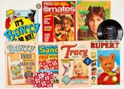 1980s Girls Comics: Bunty 1400 wfg Bunty Carrier Bag, Mates No 1 wfg Lucky Love Charm, Popsworld