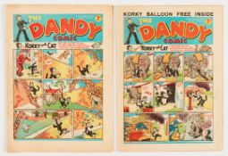 Dandy (1939) No 65, 78. Bright covers, cream/light tan pages, some wear to page overhang edges [vg+]