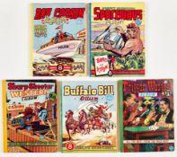 Comic Albums by Moring and GT Ltd (1950s). Roy Carson Album, Swift Morgan Spaceways, Buffalo Bill,