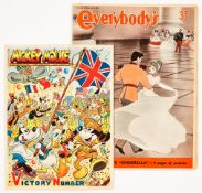 Mickey Mouse VE Day Victory Number (June 2 1945) with Everybody's Weekly (June 10 1950) showing