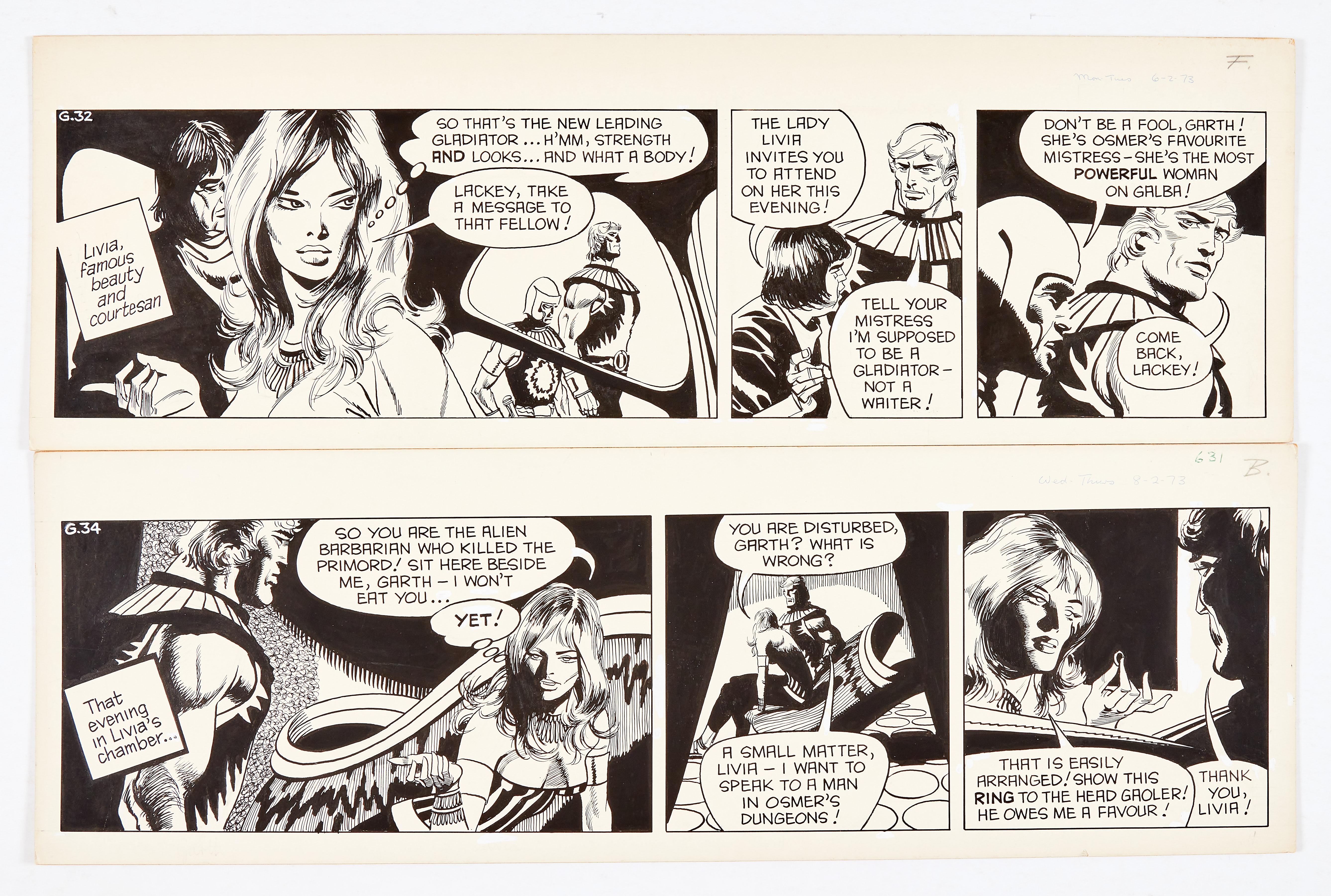 Garth: 'Women of Galba' two original artworks (1973) by Frank Bellamy for the Daily Mirror 6/8
