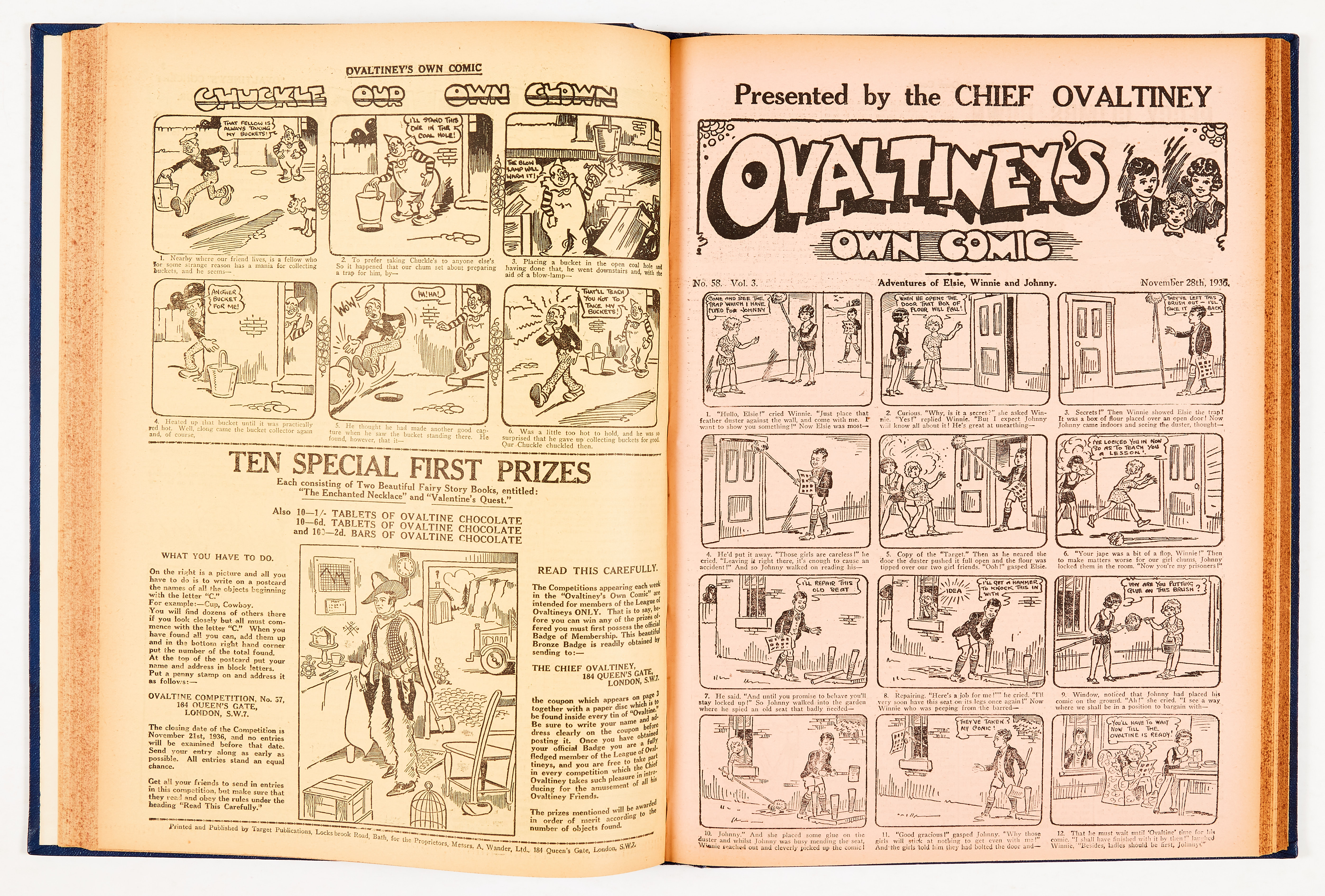 Ovaltiney's Own Comic (1935-38) 1-128 in bound volume. Produced in conjunction with The Ovaltine