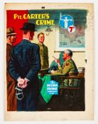 Sexton Blake/Pte Carter's Crime (John Creasey) original cover artwork by Eric Parker from Sexton
