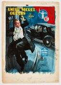 Sexton Blake/Under Secret Orders original cover artwork by Eric Parker for Sexton Blake Library No