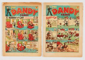 Dandy (1939) 93, 95 (with first illustrated ad for Beano Book No 1 and Dandy Monster Comic No 2).