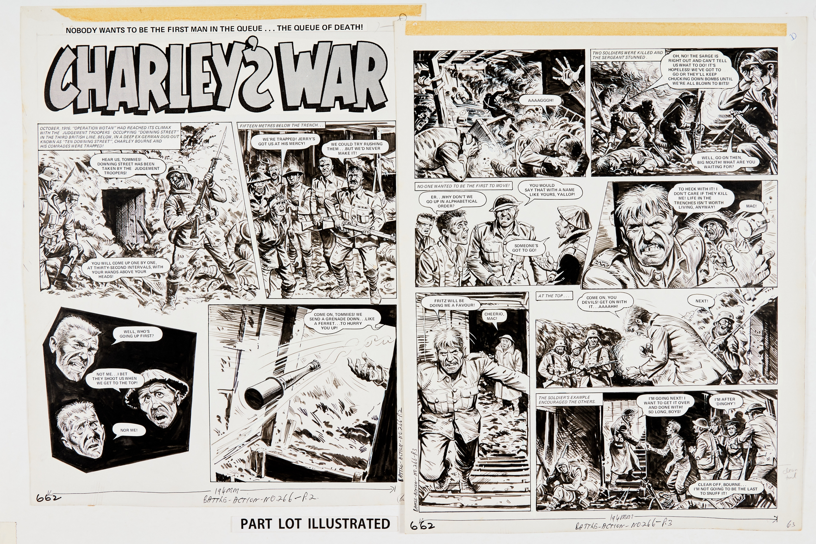 Charley's War: 4 original artworks by Joe Colquhoun, signed to pg 4 from Battle Action 266 (1979)