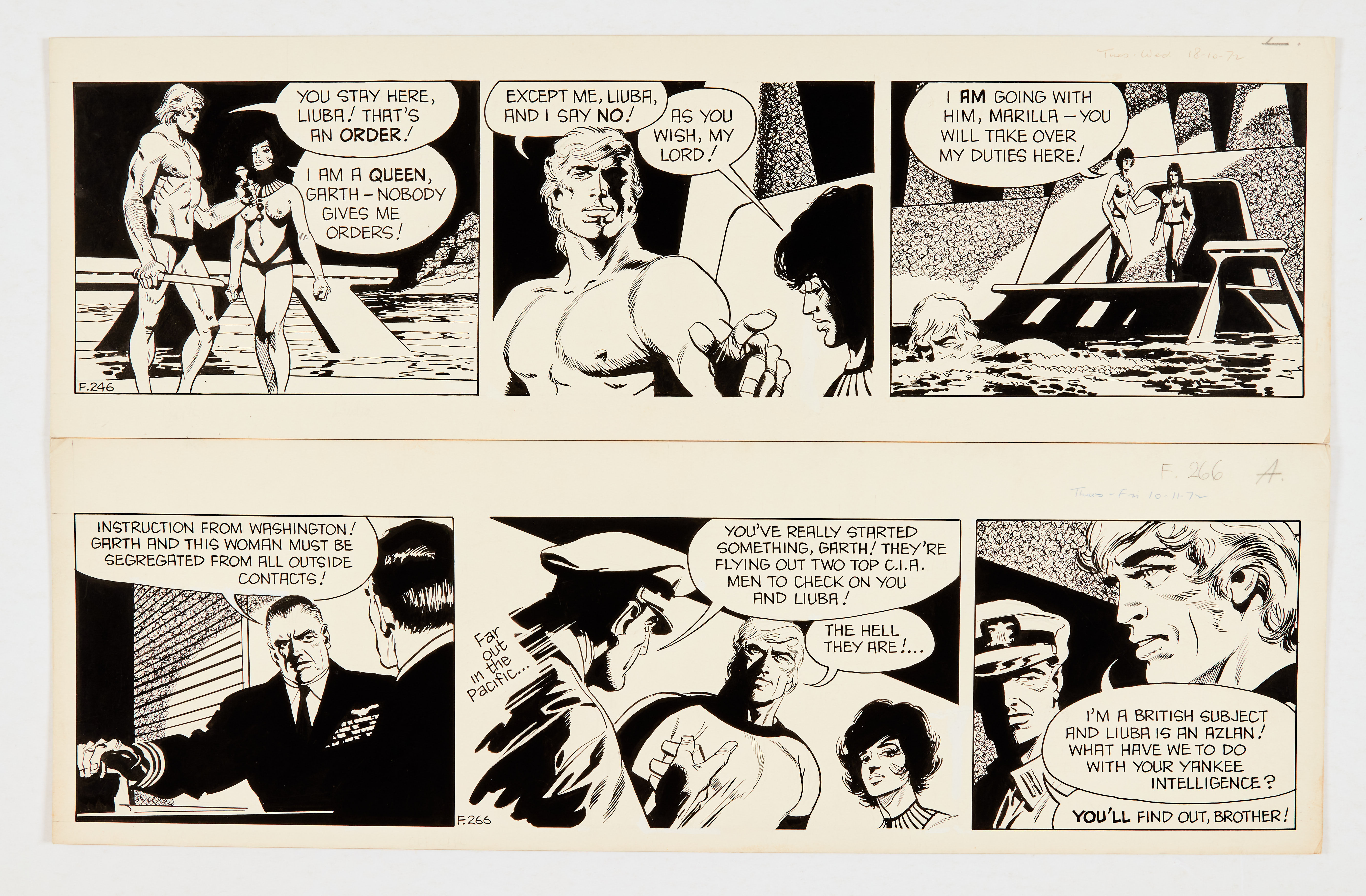 Garth: 'The People of the Abyss' two original artworks (1972) by Frank Bellamy for the Daily