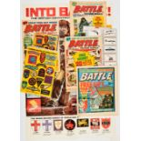 Battle Picture Weekly (1975) No 1 wfg Combat Badges of WWII, No 2 wfg Into Battle Poster, No 3 wfg