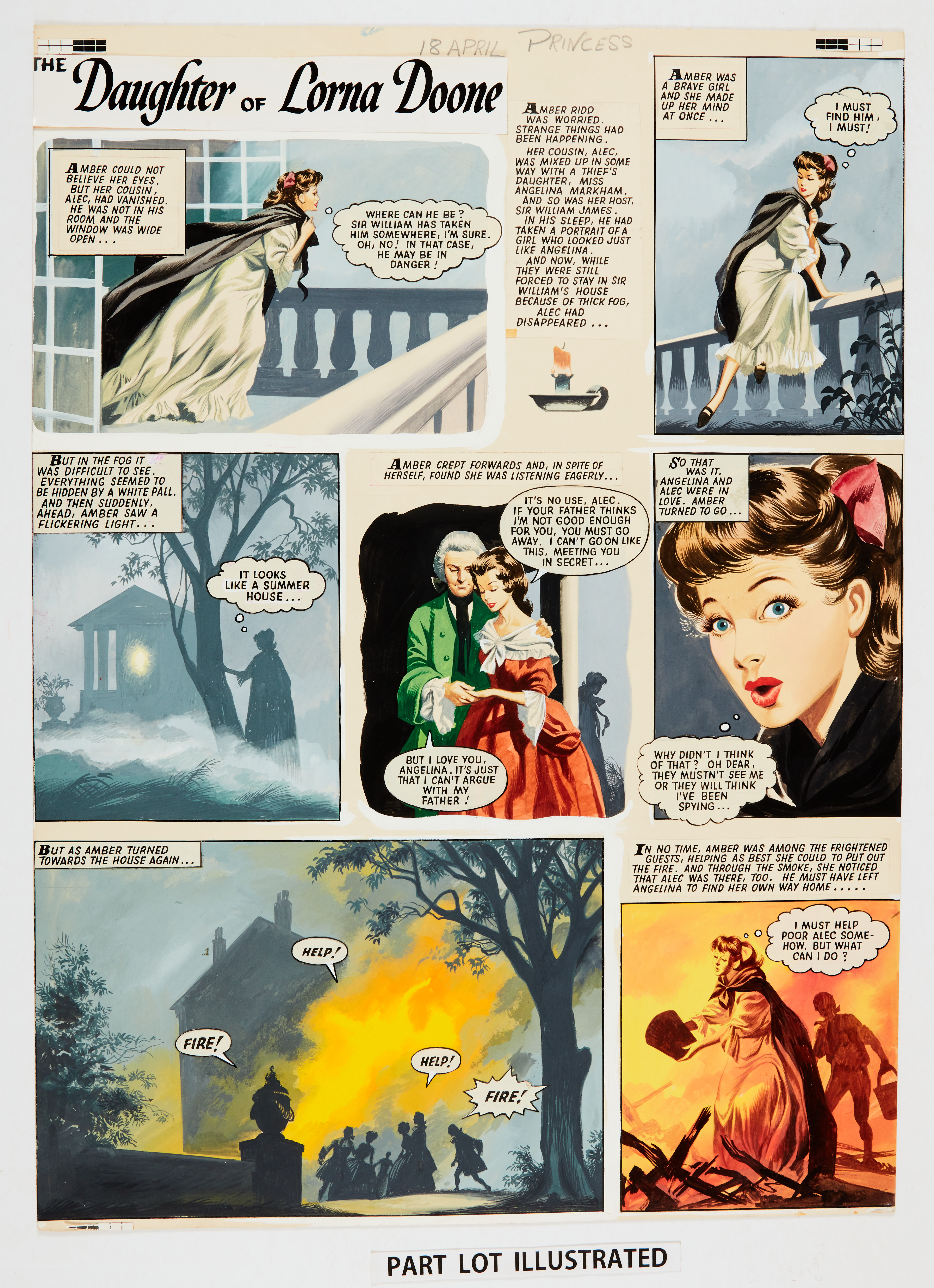 The Daughter of Lorna Doone: two consecutive original colour artworks by Ron Embleton (early