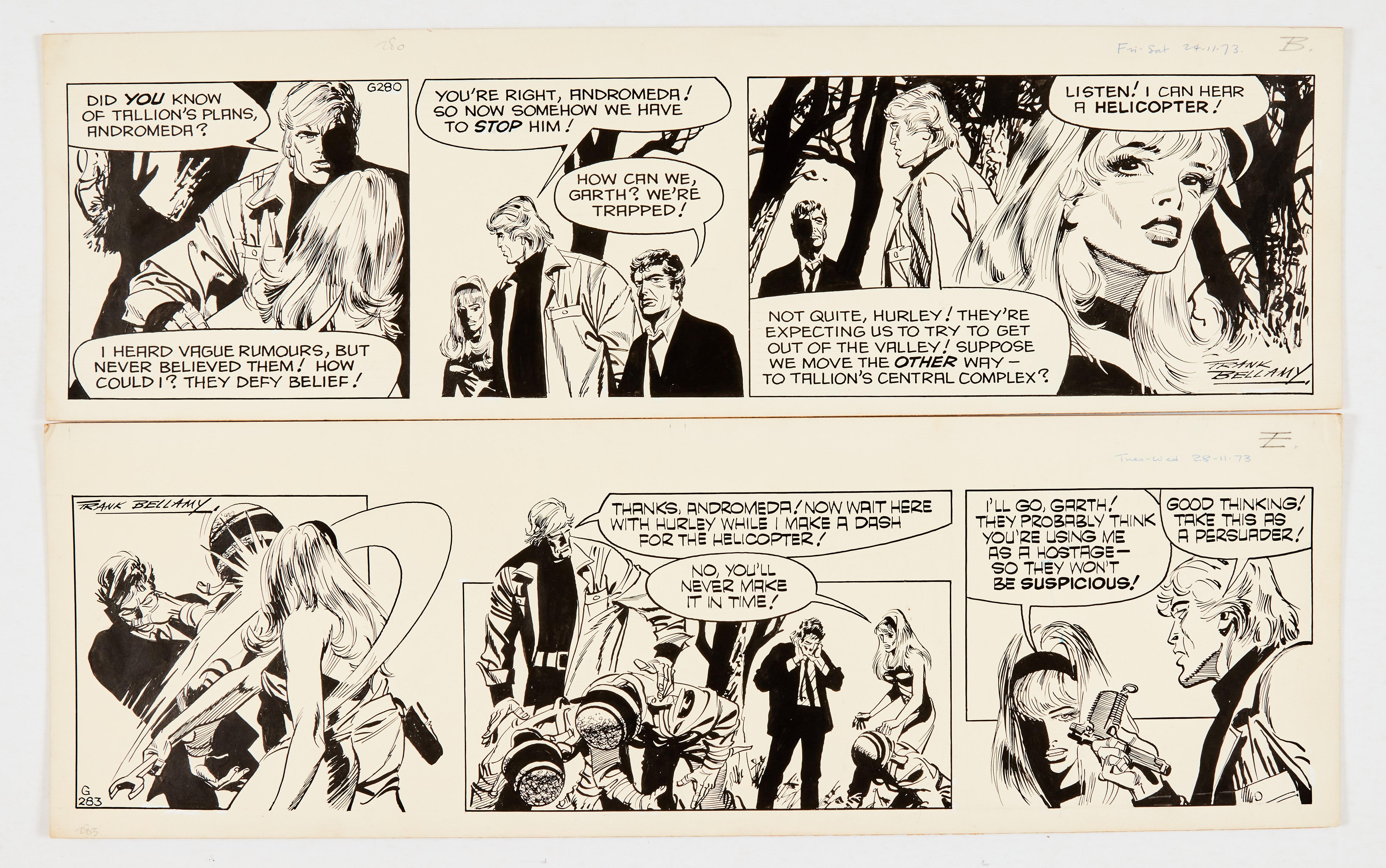 Garth: 'The Wreckers' two original artworks (1973) by Frank Bellamy (both signed) 24/28 Nov 1973.