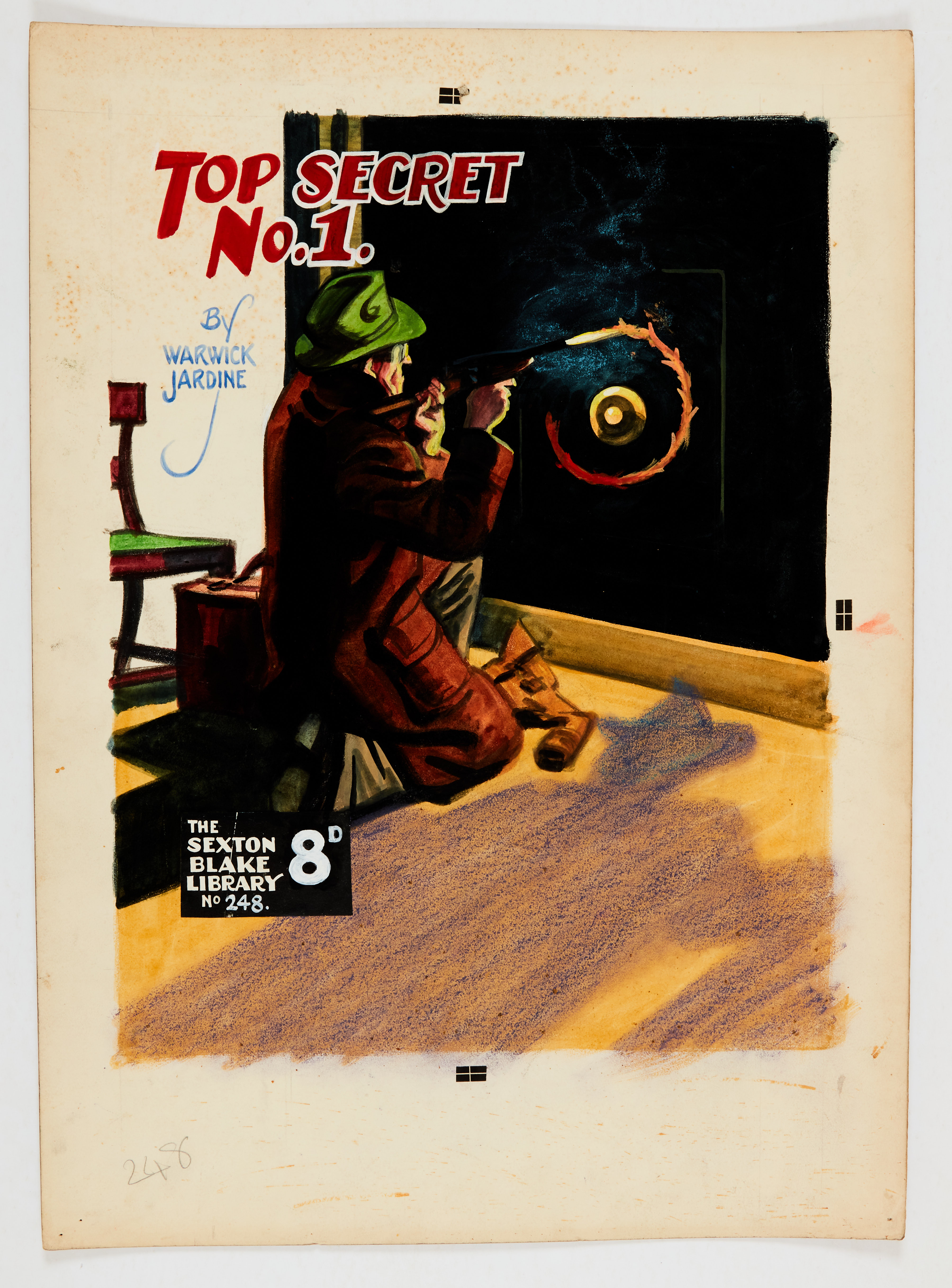 Sexton Blake/Top Secret No 1 original cover artwork by Eric Parker from Sexton Blake Library No