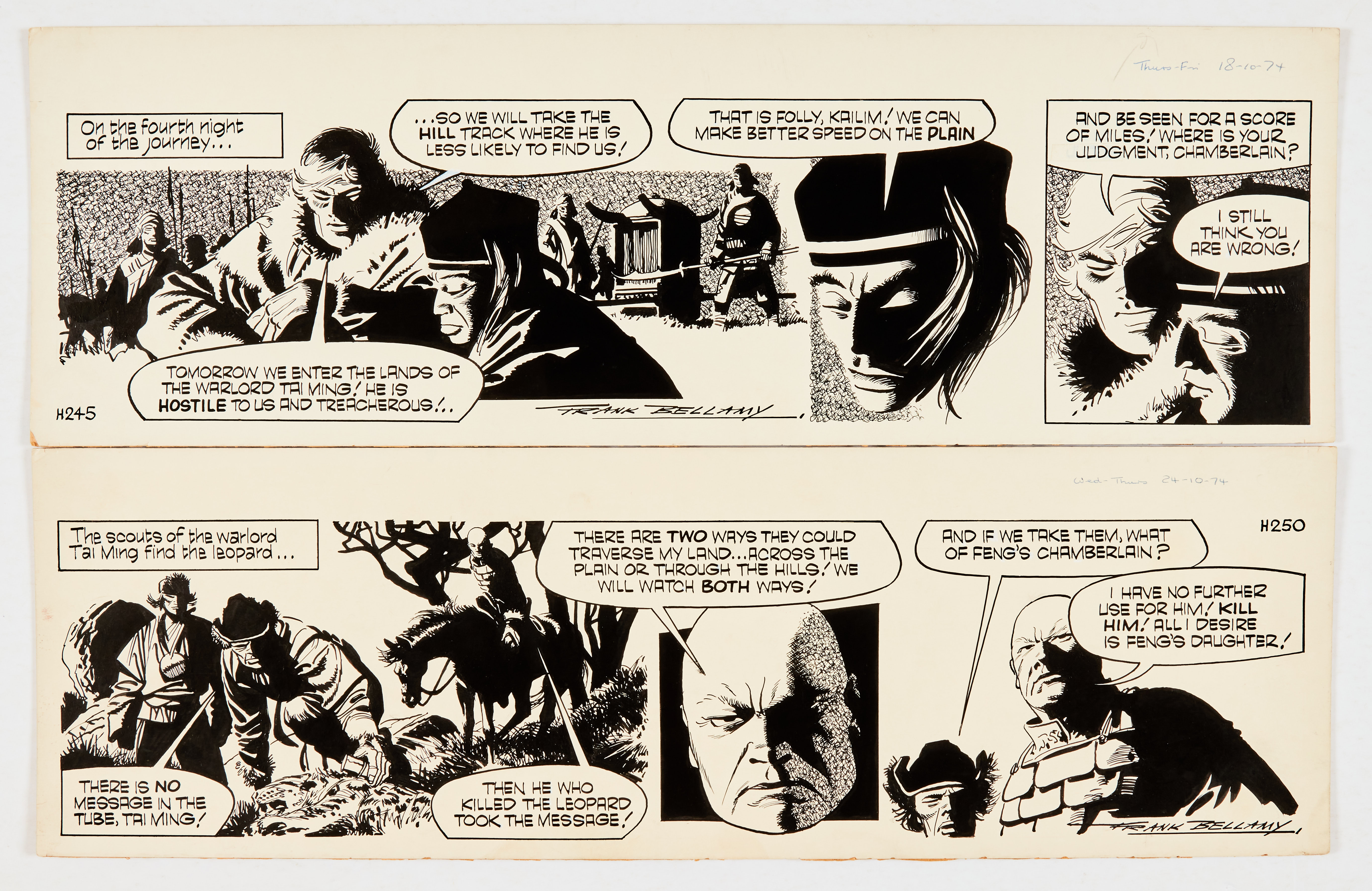 Garth: 'The Bride of Jenghiz Khan (1974) two original artworks by Frank Bellamy (both signed) 18/