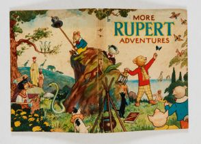 More Rupert Adventures (1943). Light foxing and crease to front cover, pen dedication, clean white