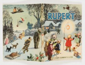 Rupert Book (1949). Small 'fingernail' cut to cover by lantern, neat dedications, clean white