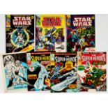 Star Wars Weekly (1978) 1-4. With The Super-Heroes (1975) 1-3. Star Wars #4 back cover lower