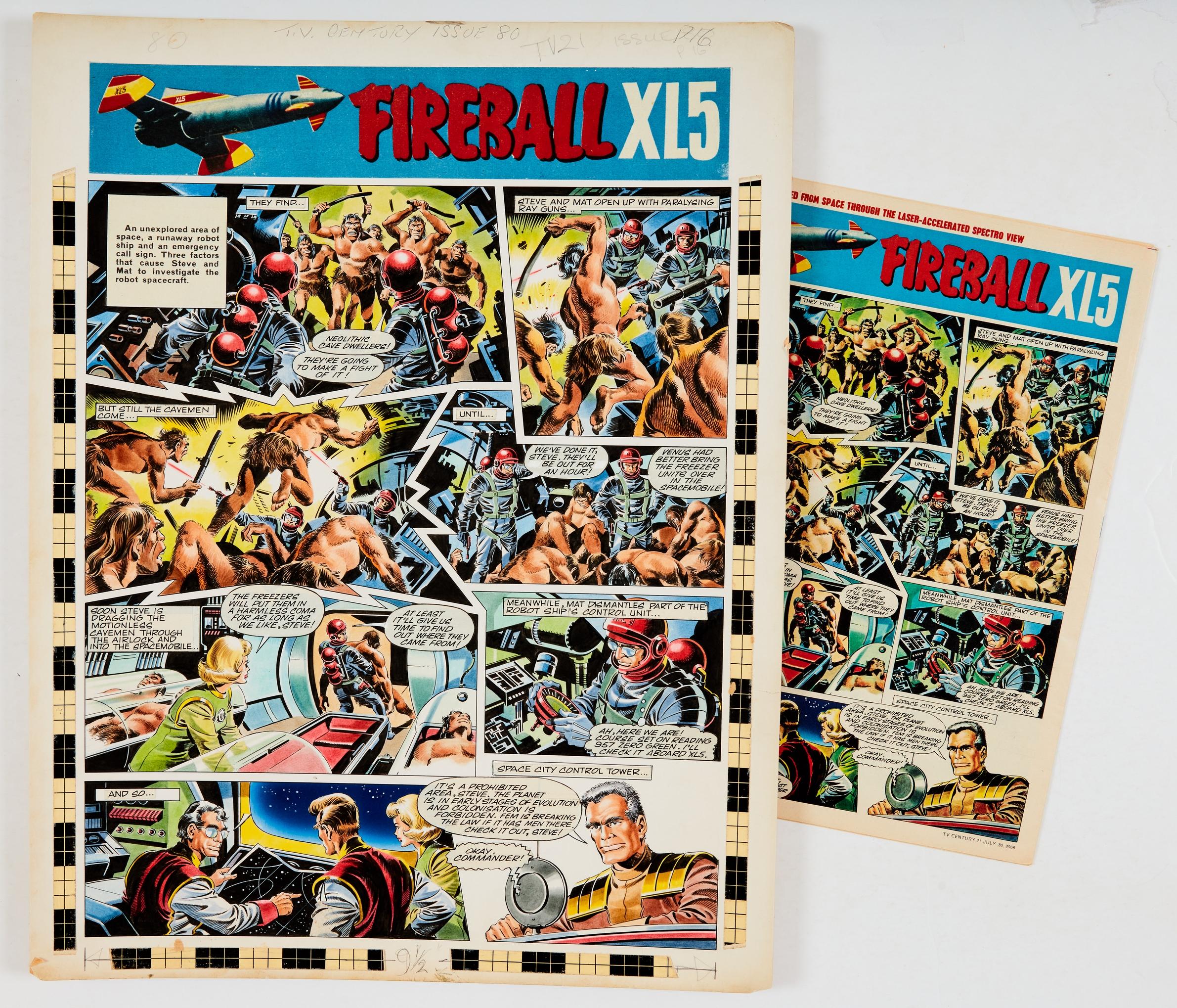 Fireball XL5 original artwork by Mike Noble (1966) for TV Century 21 No 80, 1966, with original