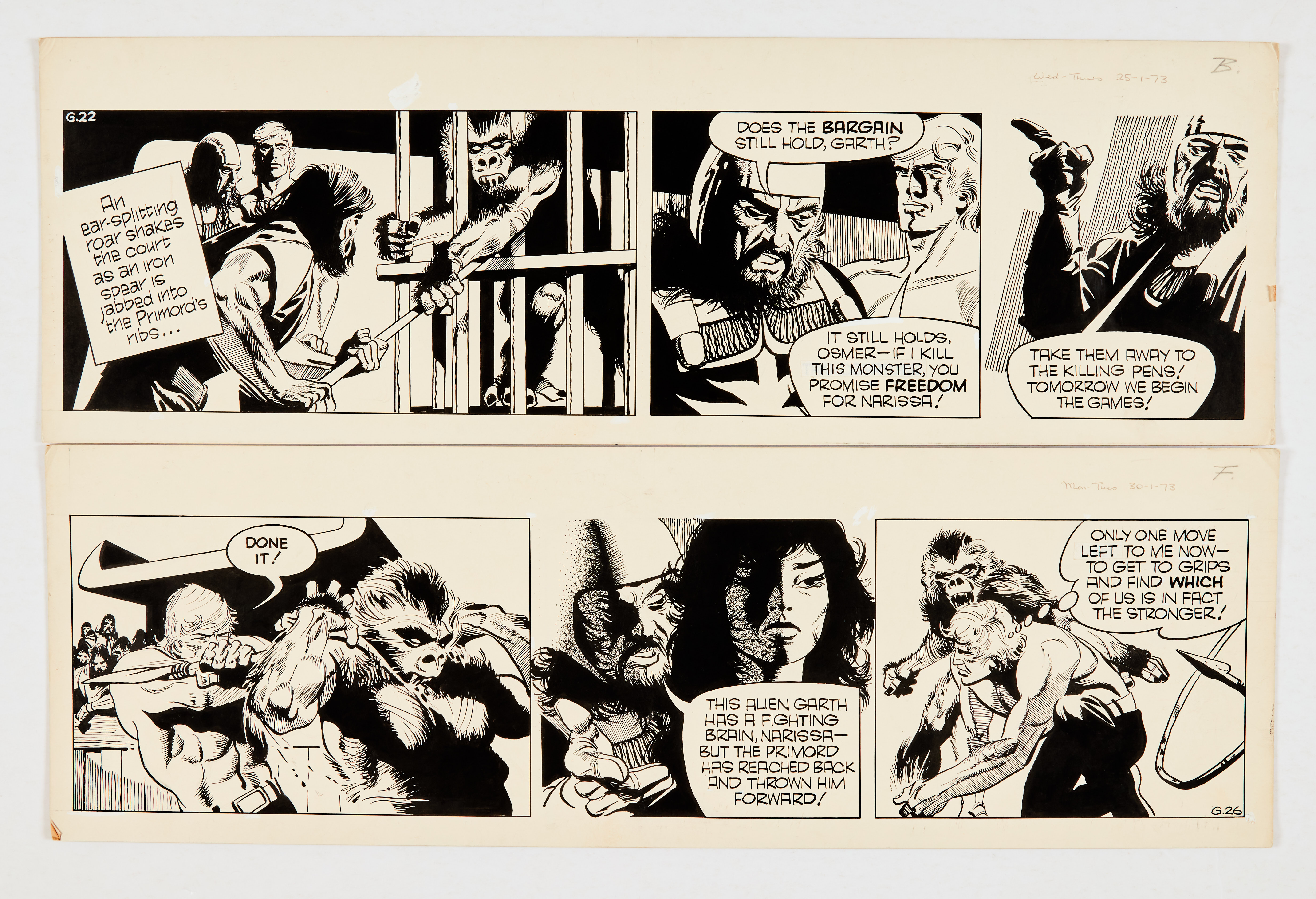 Garth: 'The Women of Galba' two original artworks (1973) by Frank Bellamy for the Daily Mirror 25/30