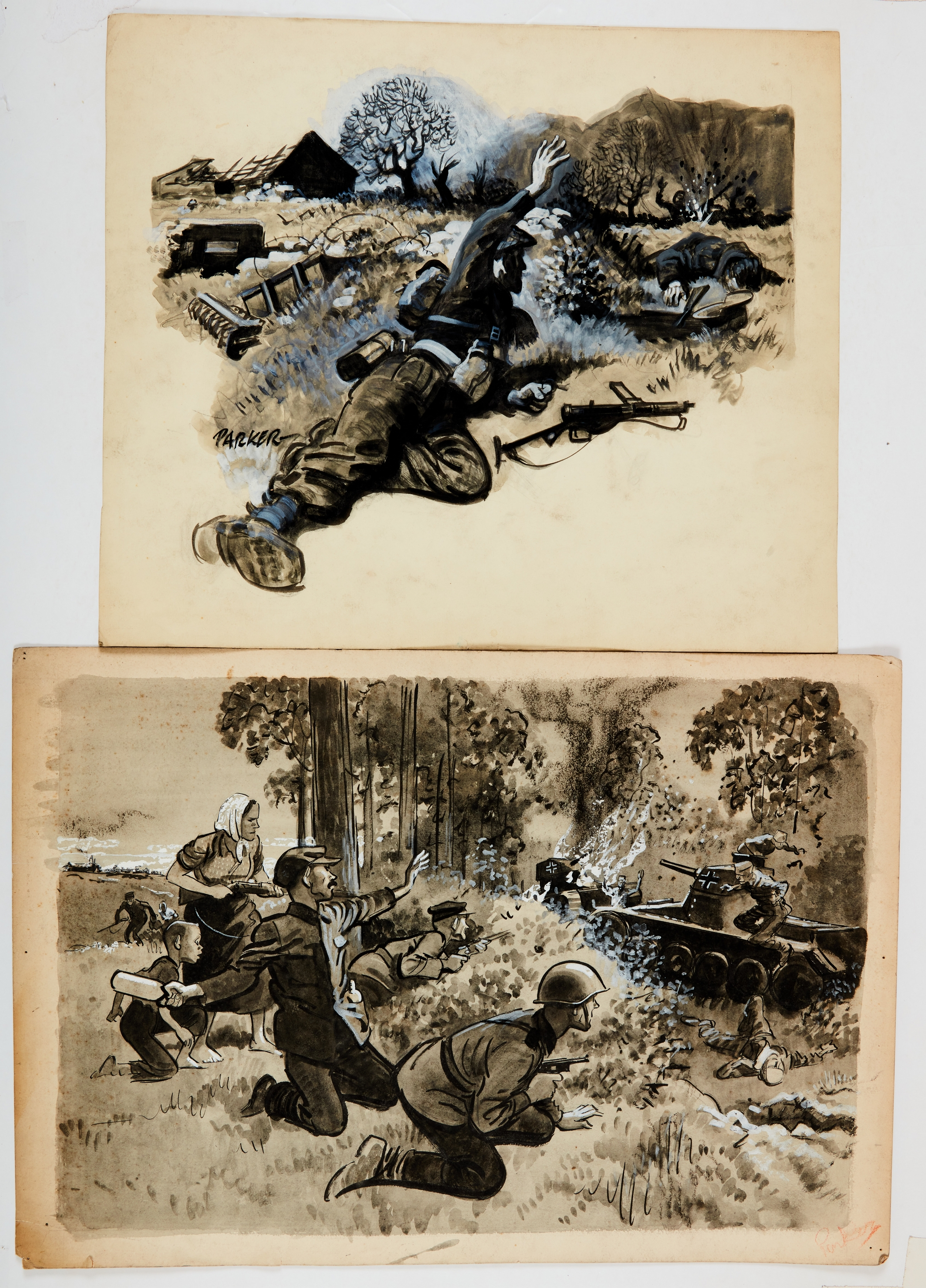Two WWII original artworks (1950s) by Eric Parker (one signed). A commando attacking a German gun