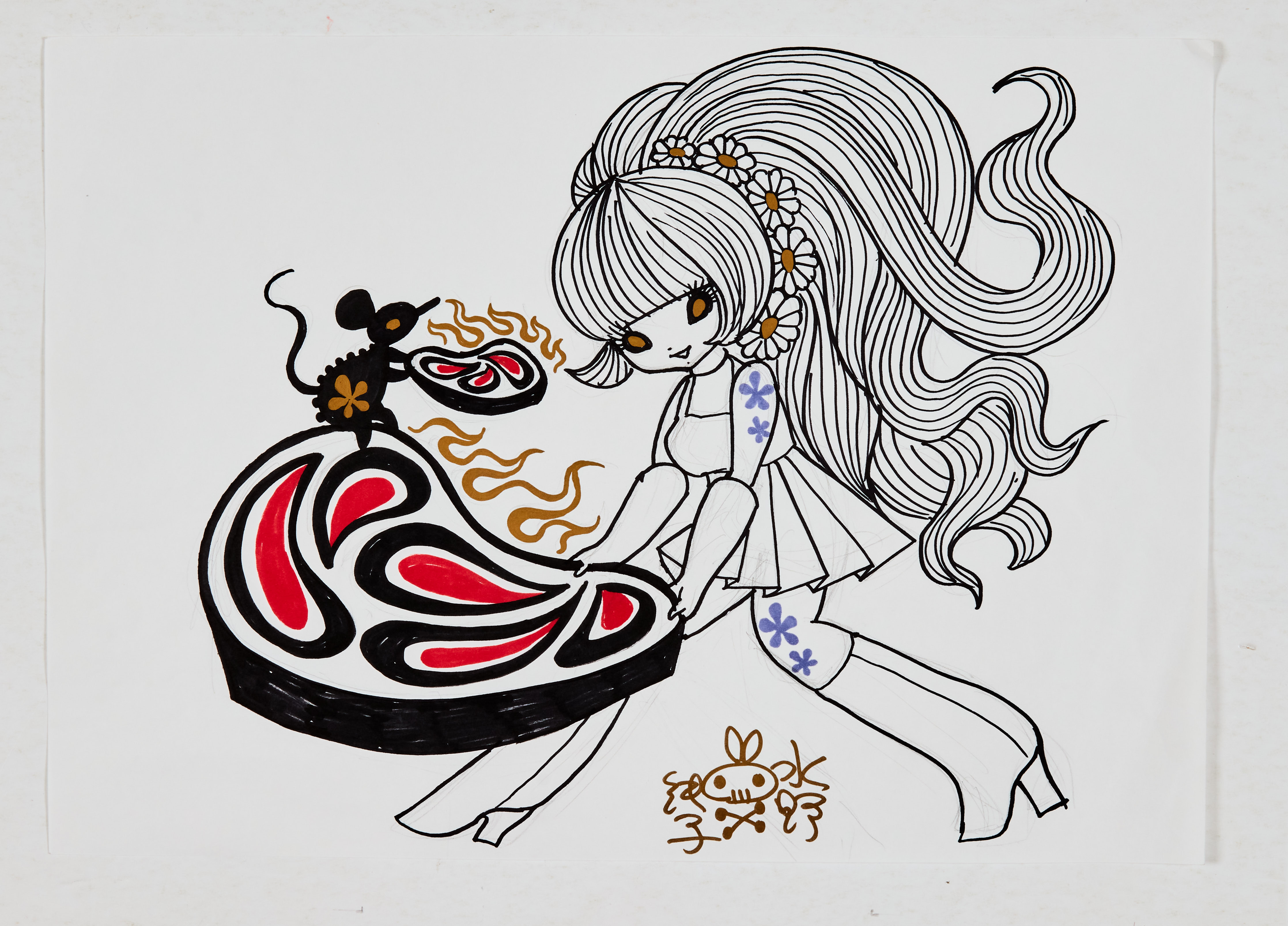 Junko Mizuno signed original artwork sketch. Psychedelic Girl, cute mouse and sizzling steaks (