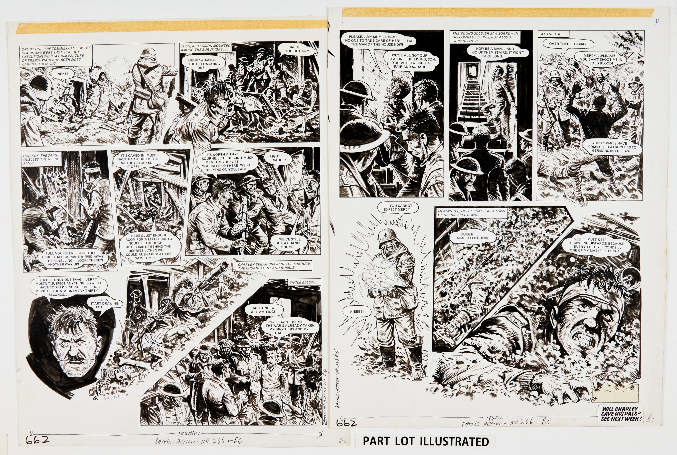 Charley's War: 4 original artworks by Joe Colquhoun, signed to pg 4 from Battle Action 266 (1979) - Image 2 of 2