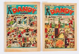 Dandy 53 (3 Dec 1938) early Christmas issue with ad for the first Dandy Monster Comic. Quarter