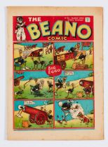 Beano No 34 (Mar 18 1939). Bright cover with back cover light foxing and ink dust blemishes. Cream/