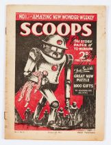Scoops No 1 (1934) 'The UK's first Science Fiction Weekly'. Bright cover, medium spine wear, rusty