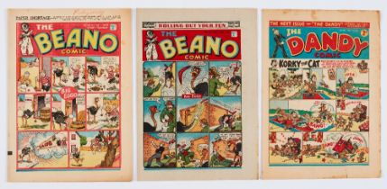 Beano No 66 (1939) missing pg 11/12 [fr]. With Beano 211 (1943) propaganda war issue [fn] and
