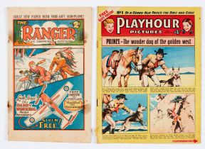 Ranger No 1 (1931) No back cover, rust marks [fr] with Playhour No 1 (1954) worn spine, rusty