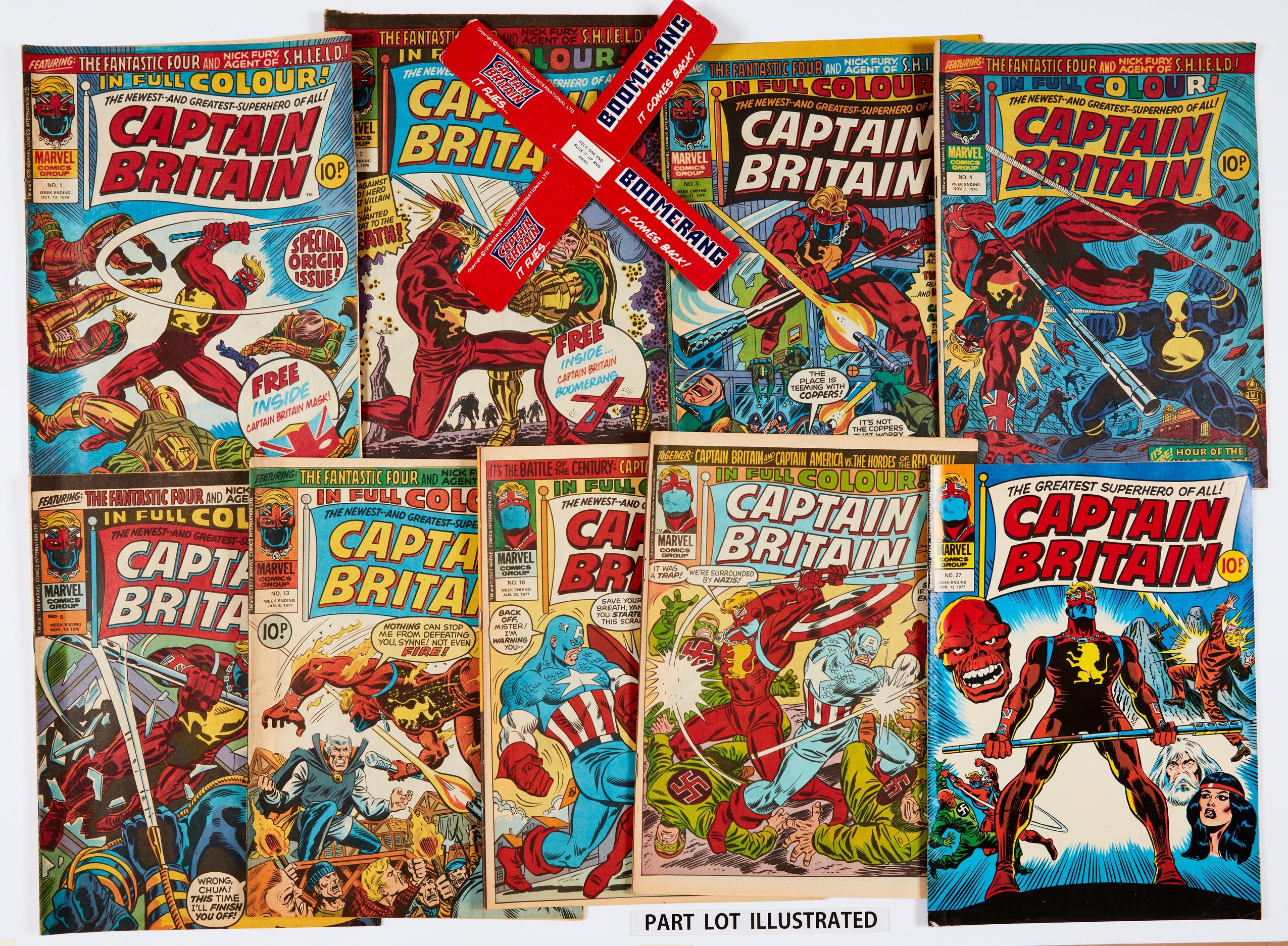 Captain Britain (1976-77) 1-22, 25-28. No 2 wfg Captain Britain Boomerang. No 1 Fun Page Maze