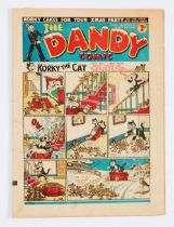 Dandy 107 (Dec 16 1939). Desperate Dan is giving away Korky Christmas cakes (but not to Addie and