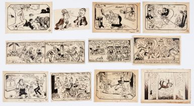 Chips, Comic Cuts, Puck, Jingles and Jester (1920s-50s) original artwork panels (most) by Bertie