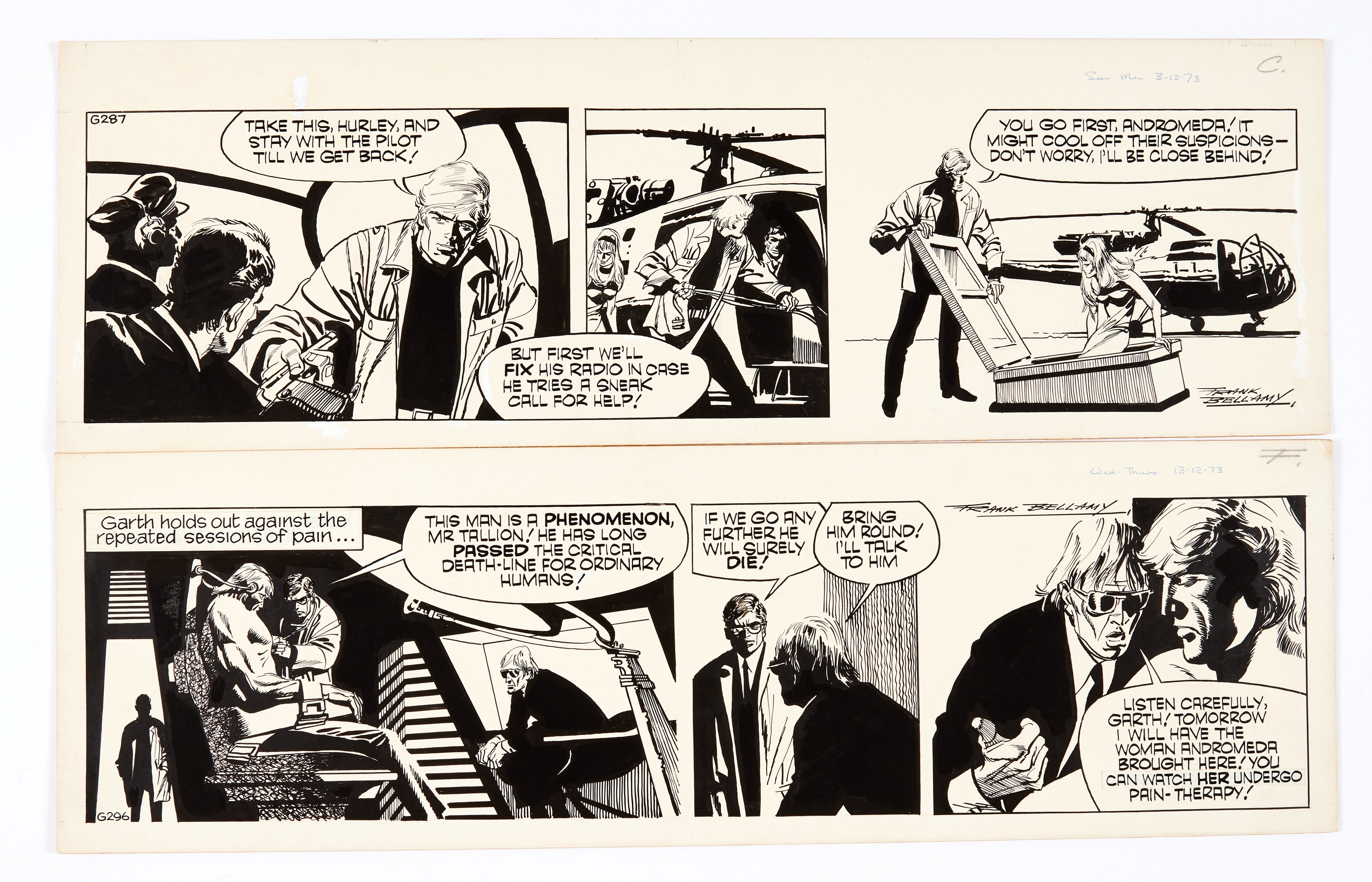 Garth: 'The Wreckers' two signed original artworks (1973) by Frank Bellamy for the D. Mirror 3/13