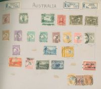 OLD PEG FIT ALBUM of countries A-H incl. Argentina, Australia - noted Roos 1913 5s U, 1924 £1 grey