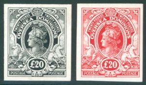 COLONIAL PROOFS 1910 Overseas Dominions £20 black & £20 red 'Postage/Postage' Imperf Plate Proofs on