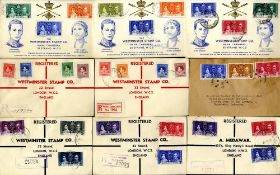 1937 Coronation illustrated FDC's (13 diff) plus six others (non illustrated) mainly registered. (