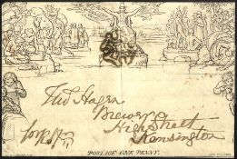 1841 One Penny Envelope Stereo A78 used from North Shields to London cancelled with black MC,
