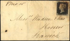 1840 Aug fragile cover from North Shields to Hawick, franked penny black Pl.2 AH, four good margins,
