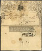 1843 One Penny Letter Sheet Stereo A81 sent from North Shields to Glasgow, cancelled by a black