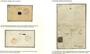 1847 entire to Newcastle franked 1841 1d four margins, reverse bears 'BULL-RING' in italics struck