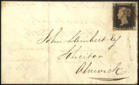 1840 July wrapper from North Shields to Alnwick, franked penny black Pl.3 MJ four margin example,