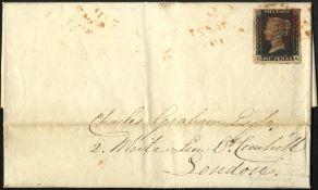 1841 entire from Tynemouth to London franked penny black Pl.1b KA, large margined example, tied